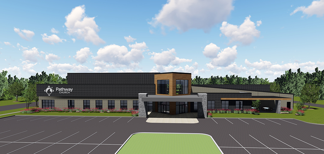 front rendering view of new building